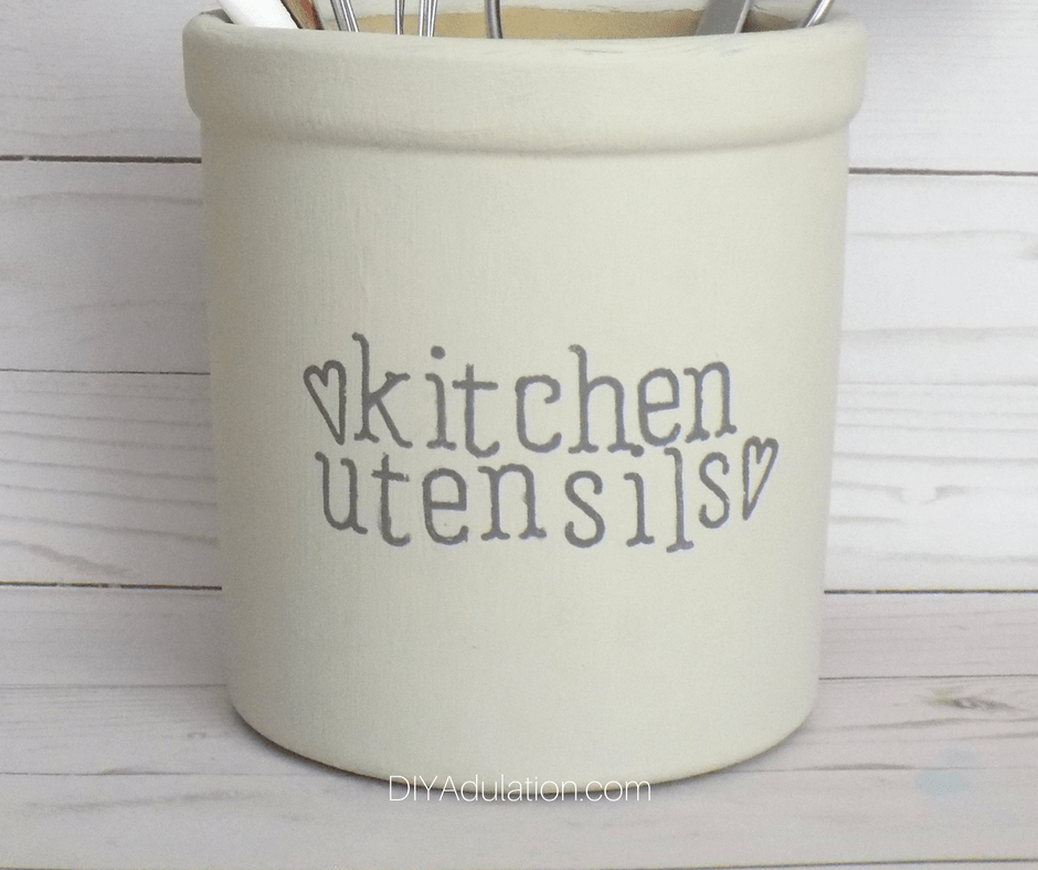 Kitchen Utensils Painted on Crock with Hearts