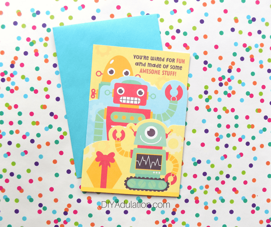 Layered Robot Birthday Card on Polka Dot Background