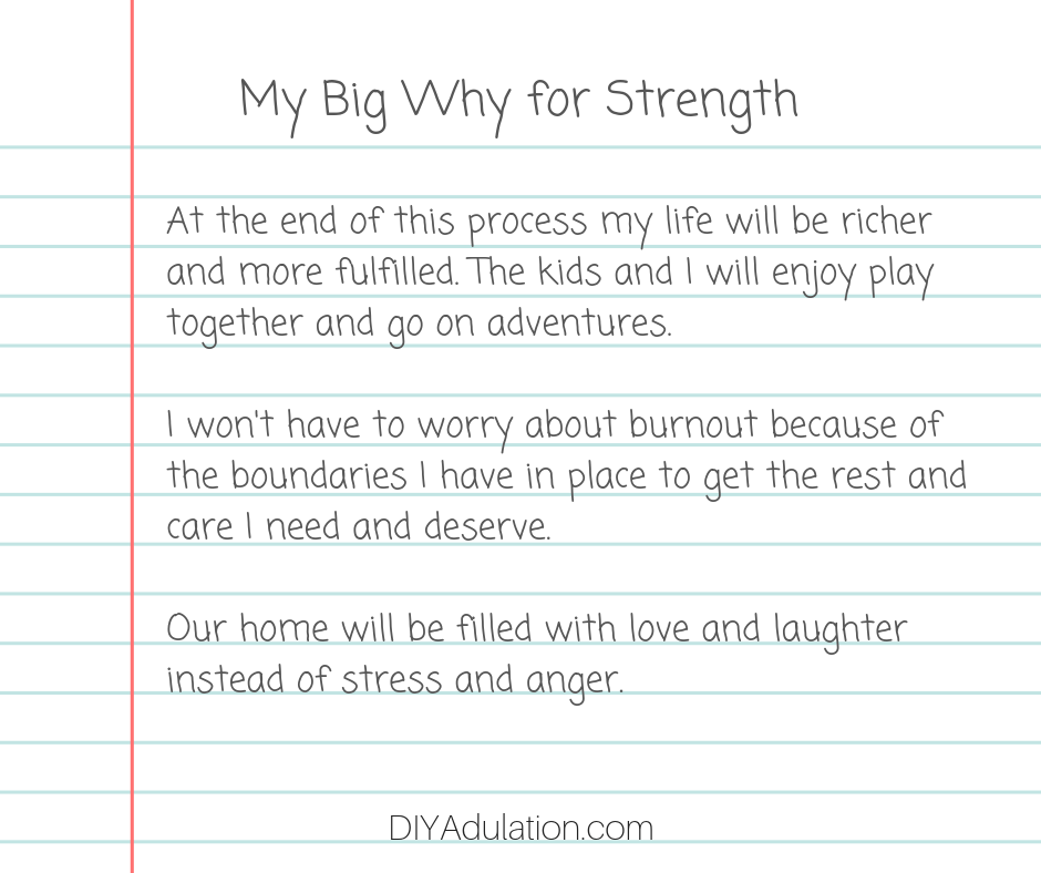 Lined Paper Titled My Big Why for Strength with Paragraphs Written on It