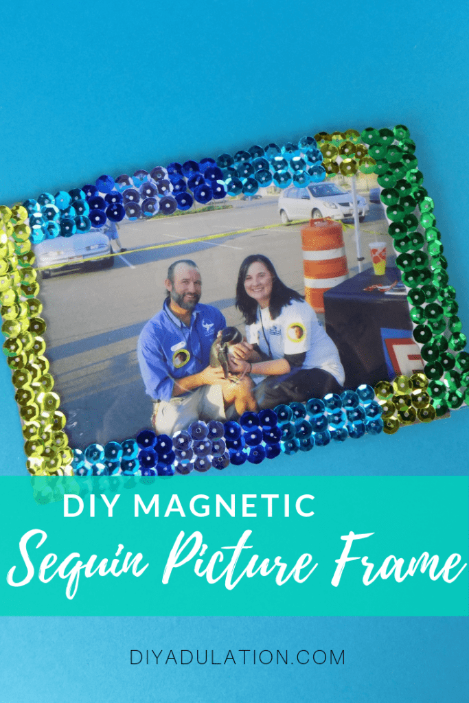 DIY Sequin Magnetic Picture Frame