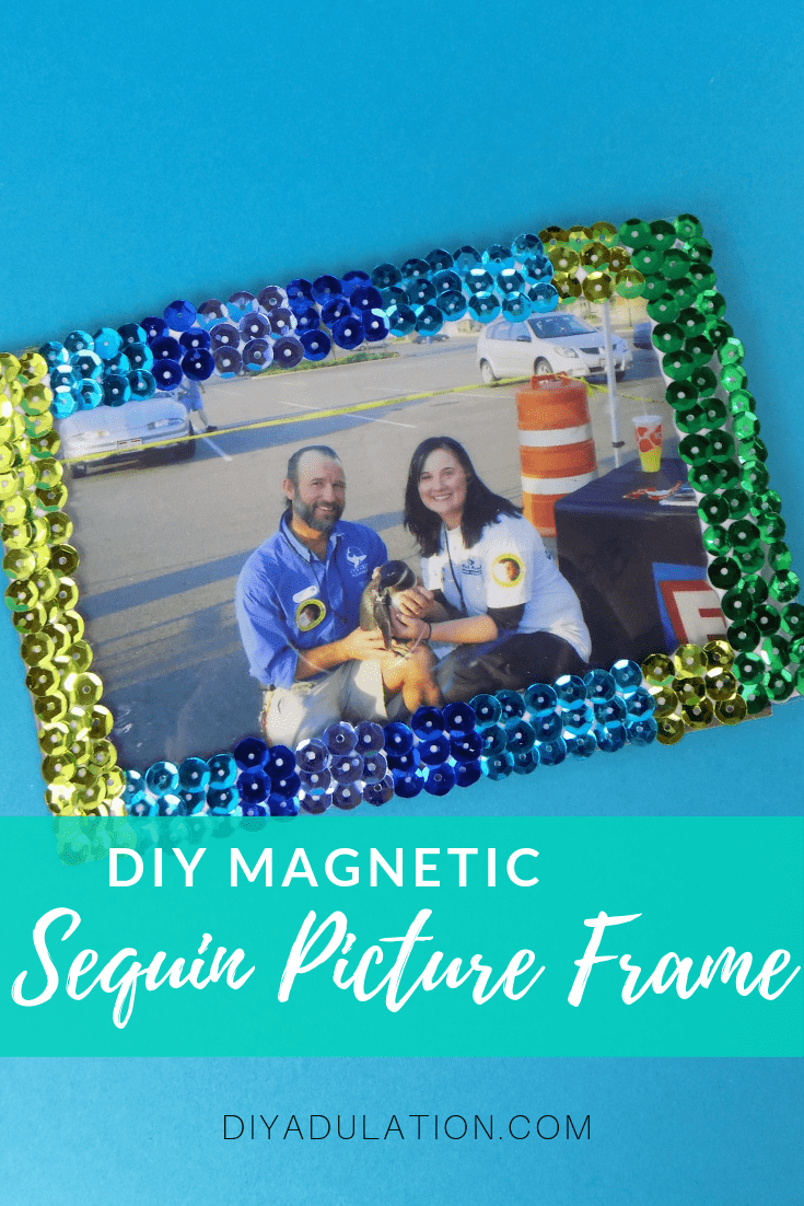Magnetic Sequin Picture Frame on Teal Background with text overlay - DIY Magnetic Sequin Picture Frame