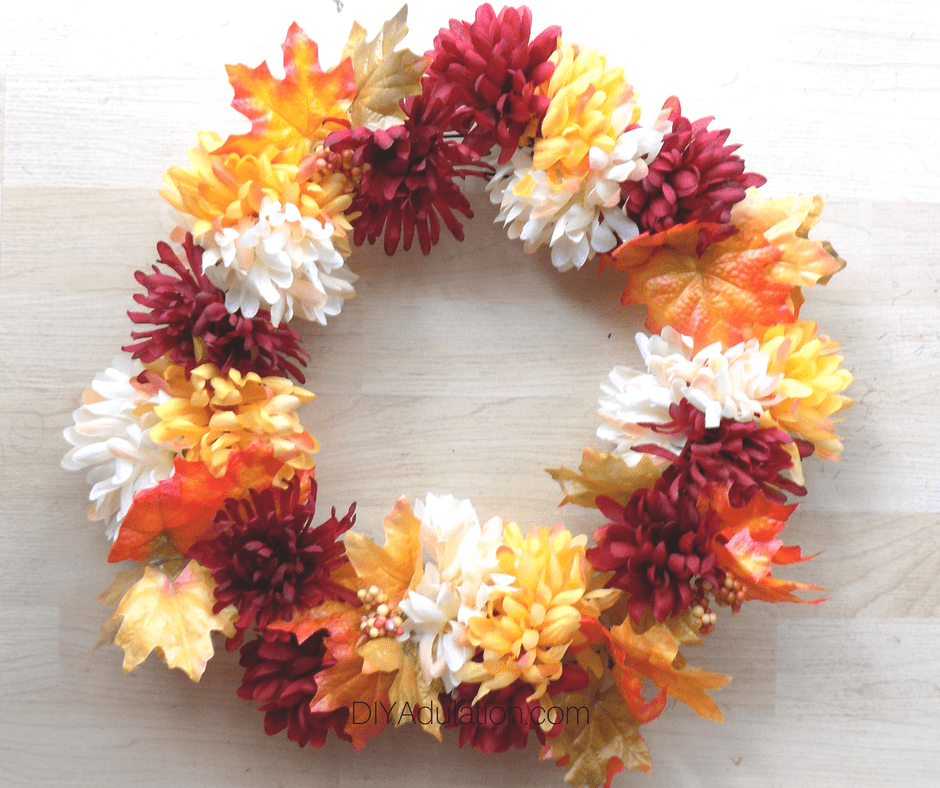 Maple Leaves and Mums on Wire Wreath Form