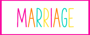 Pink and White Box with the word Marriage inside