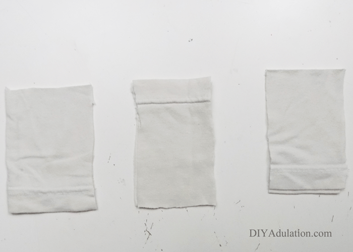 3 Sets of White Fabric Rectangles