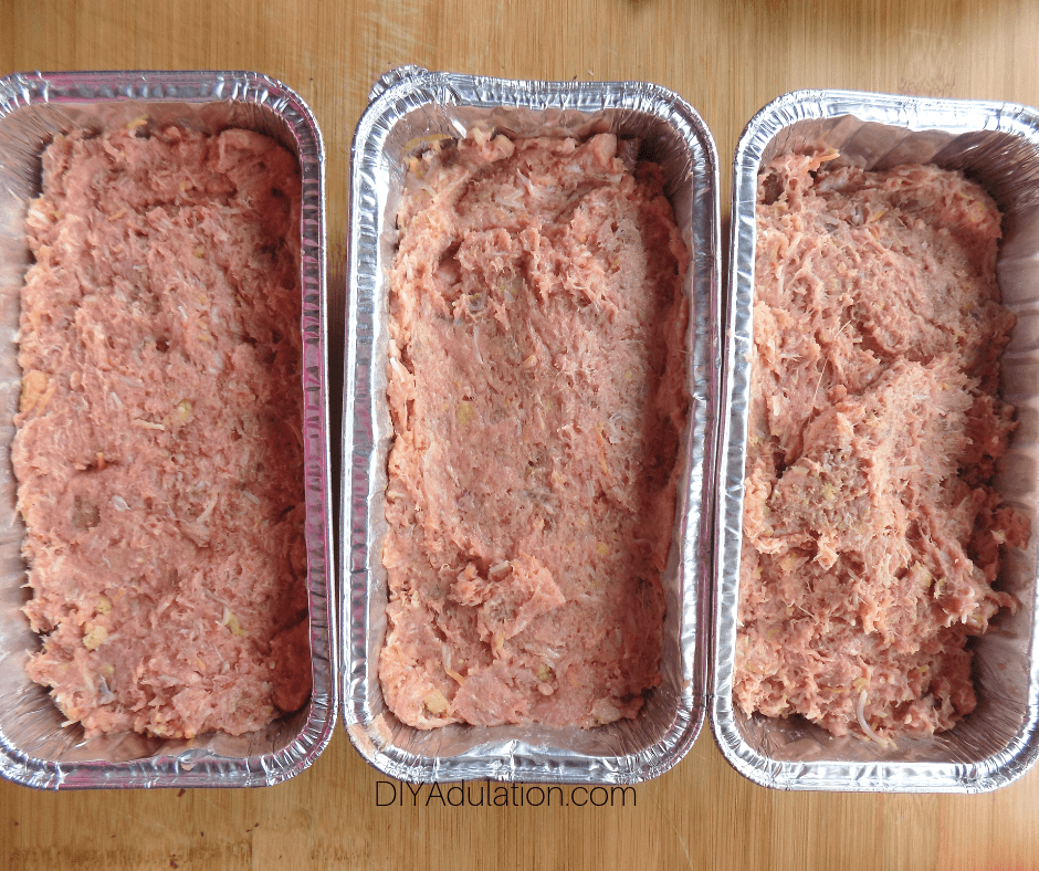 Meatloaf Mixture Divided into 3 Pans