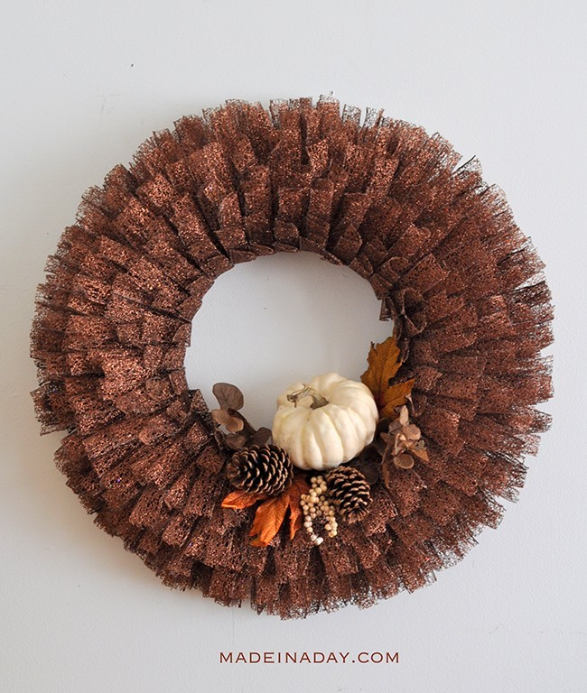 Copper ribbon wreath with fall accents