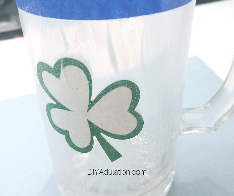 Mod Podge on Clear Glass Stein with Shamrock Sticker
