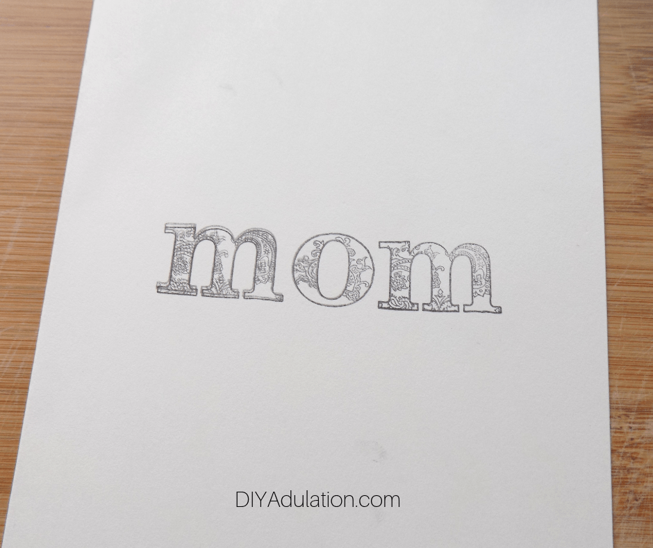 Mom stamped on Ivory Card