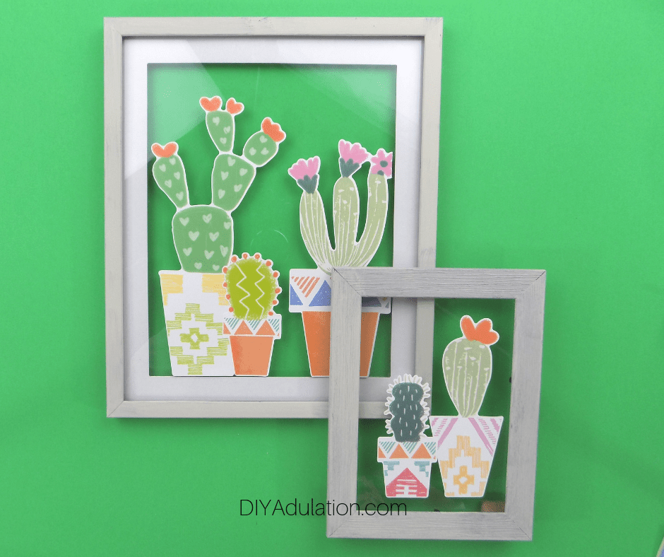 Cactus Wall Art on Green Background