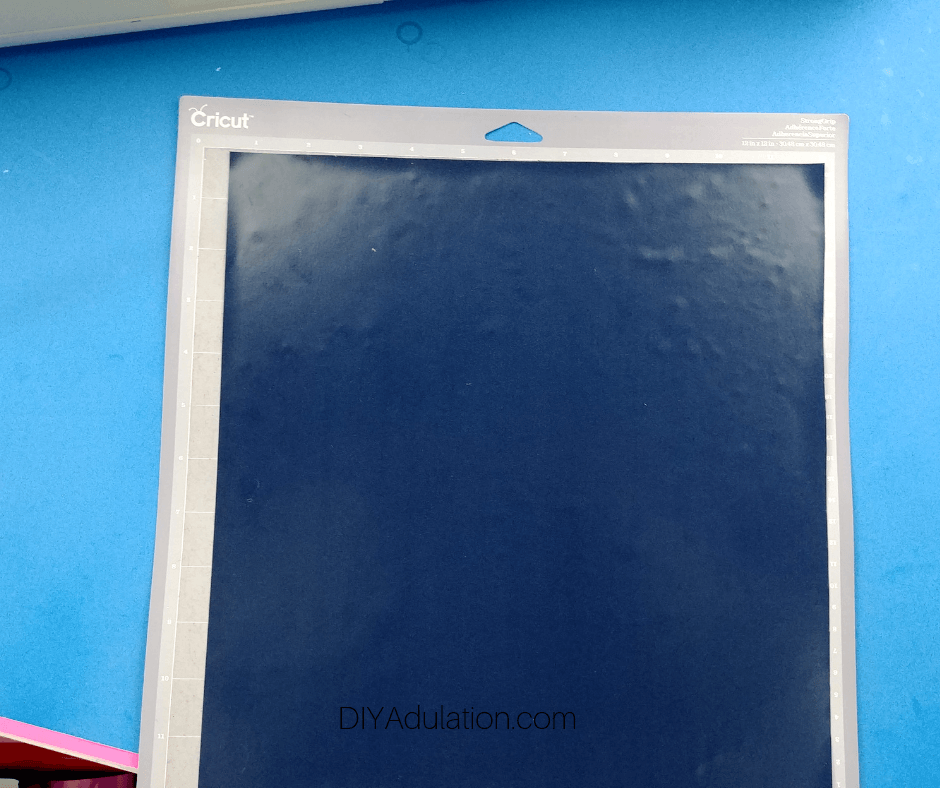 Navy Blue Vinyl on Cutting Mat