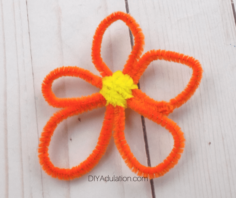 Orange Pipe Cleaner Flower with Yellow Center