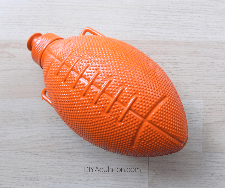 Orange Spray Painted Football Water Bottle
