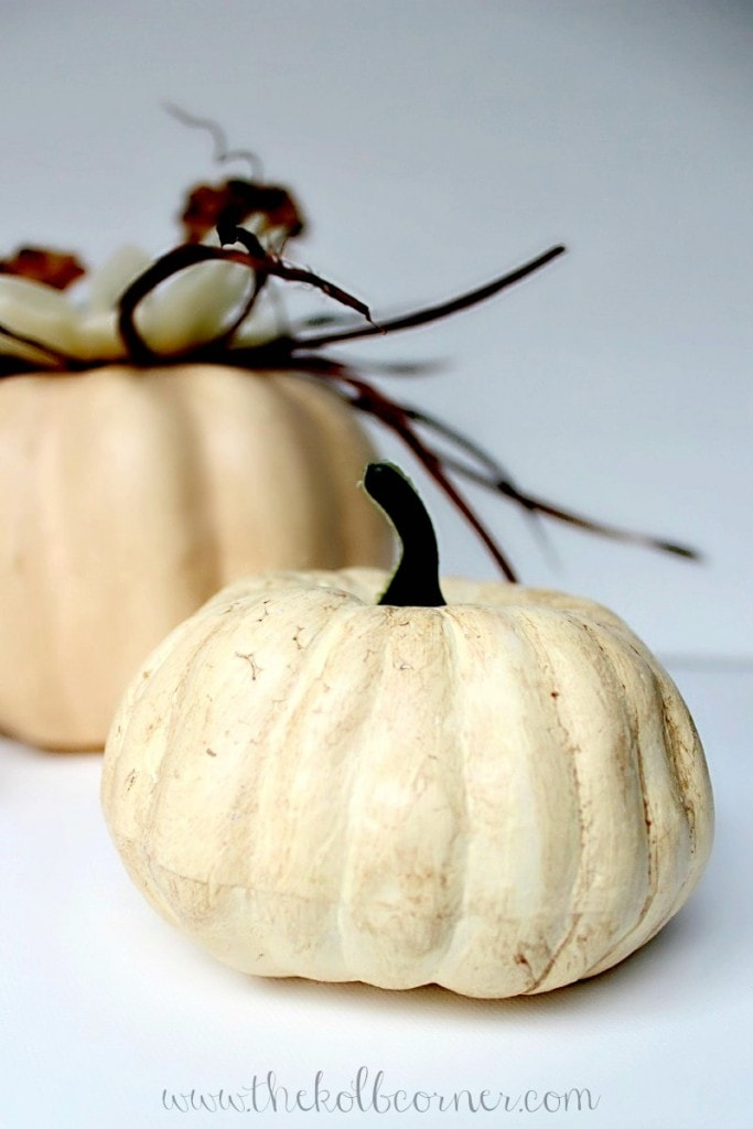Neutral painted small pumpkins