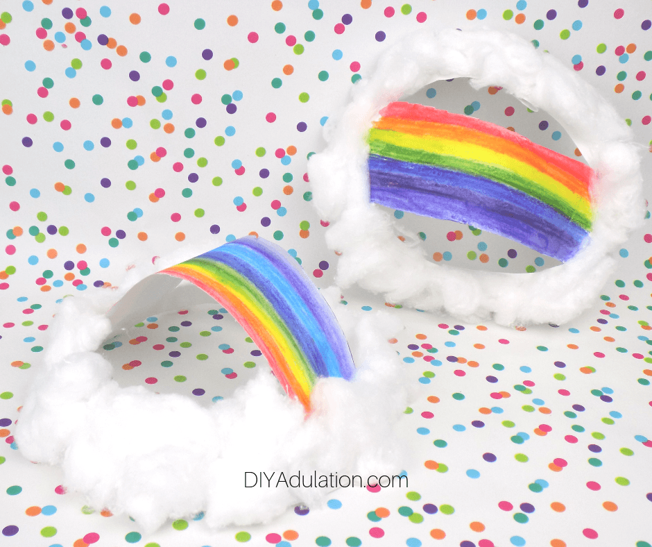 Paper Plate Preschool Rainbow Crafts on Polka Dot Background