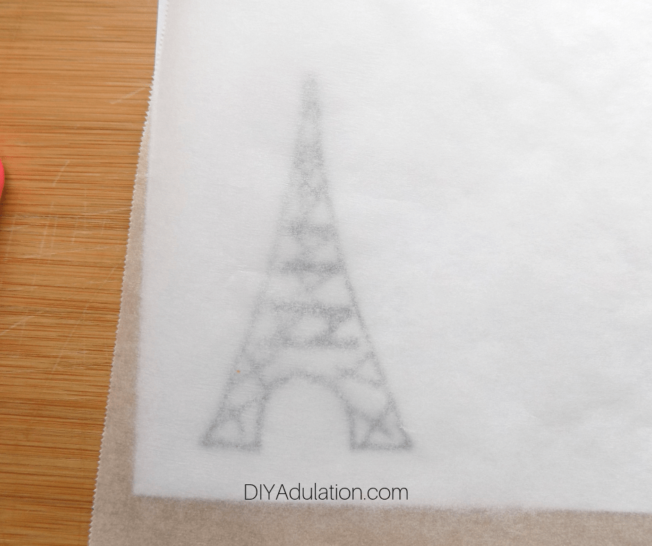 Parchment Paper over Eiffel Tower Template