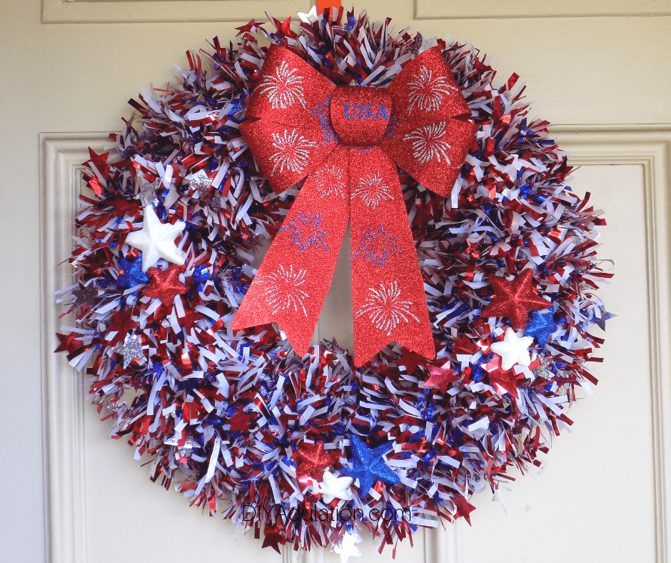 Patriotic Garland Wreath on Door