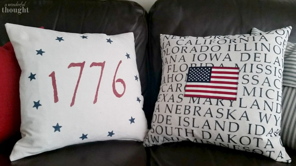 Patriotic Accent Pillows on Couch