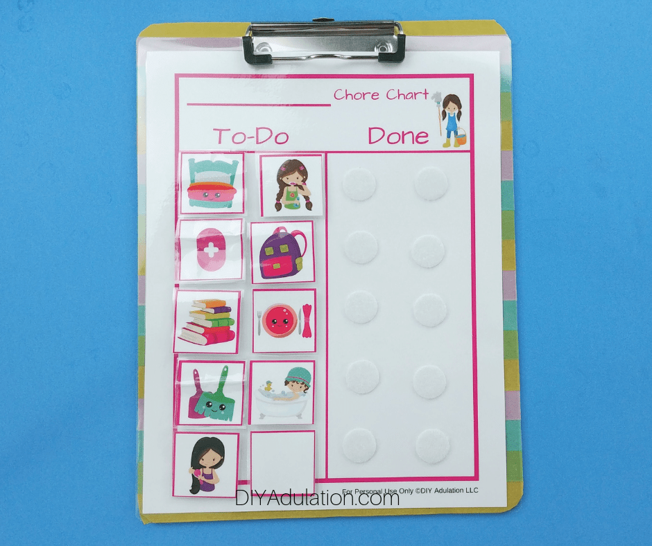Pink Chore Chart and Chores on Clipboard