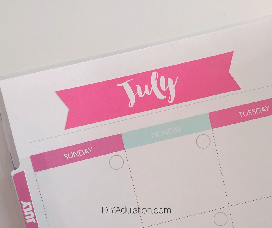 Pink July Sticker in Planner