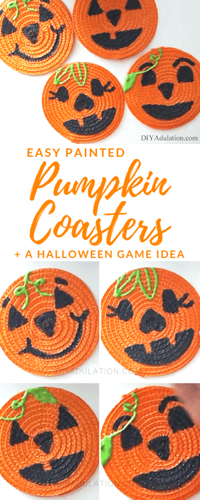 Collage of pumpkin faces on coasters with text overlay: Easy Painted Pumpkin Coasters + a Halloween Game Idea