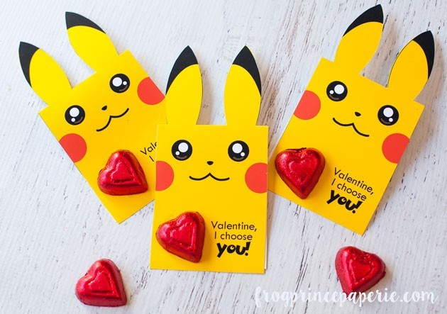 Pikachu Valentines with chocolate hearts