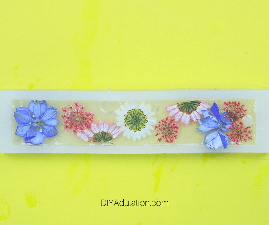 Pressed Flowers in Resin in Bookmark Mold