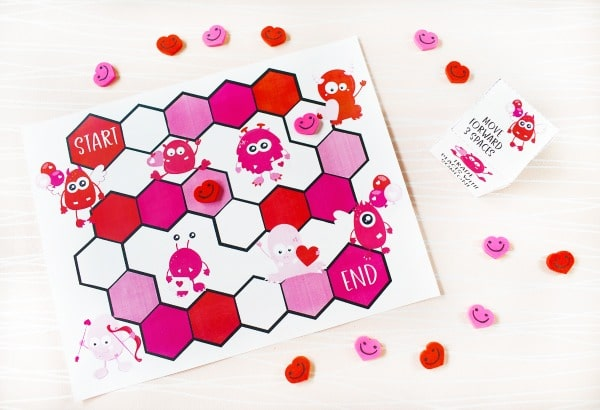 Printable valentines game and die