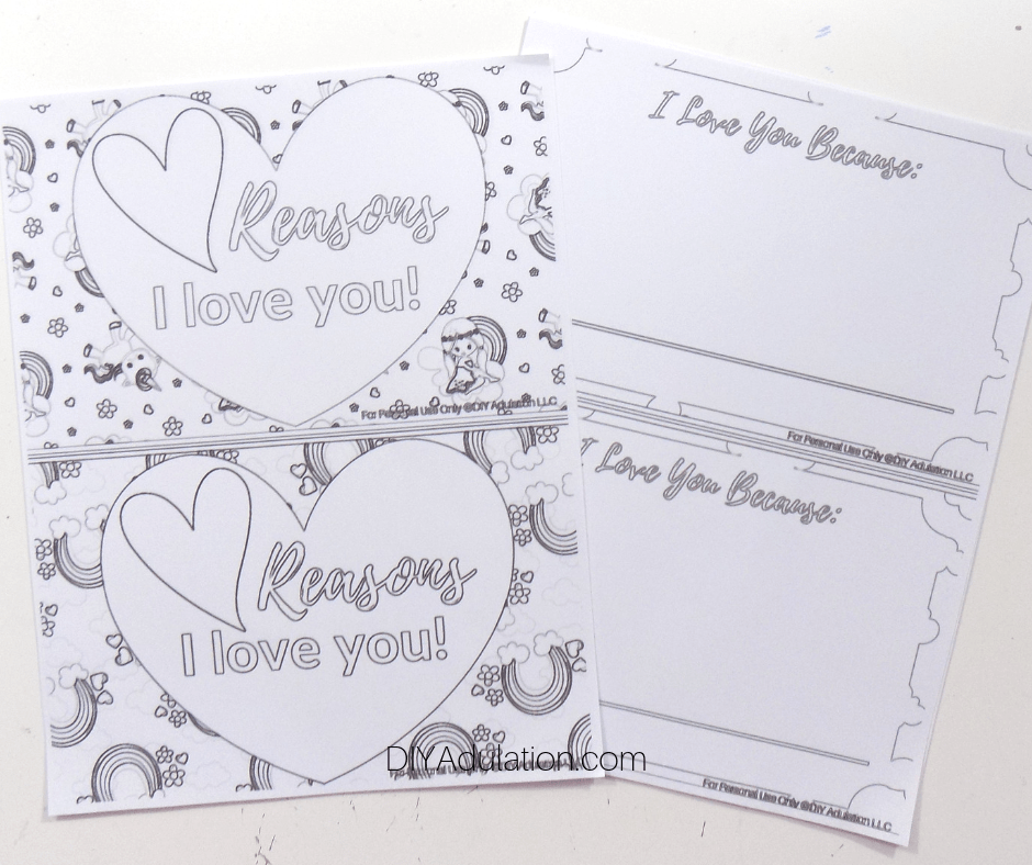 Printed Reasons I Love You Coloring Sheets
