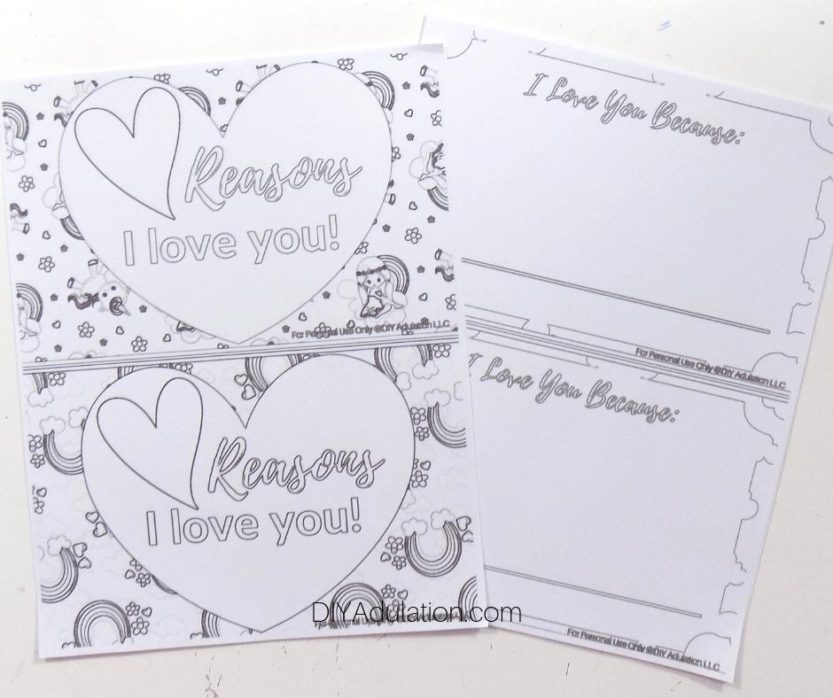 Printed Reasons I Love You Coloring Sheets