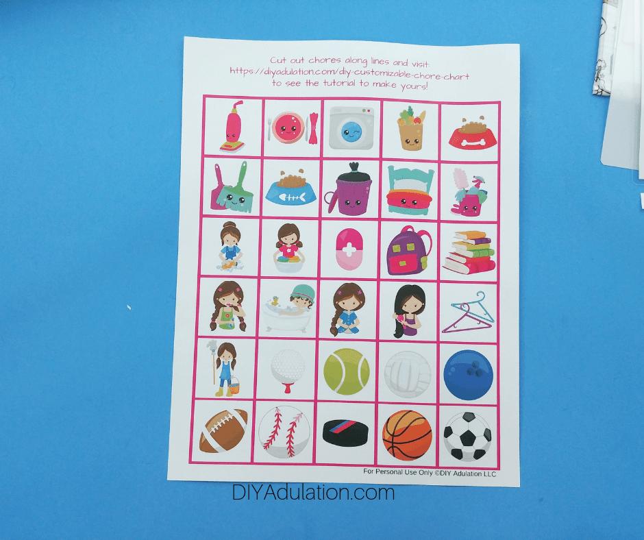 Printed Sheet of Chore Squares