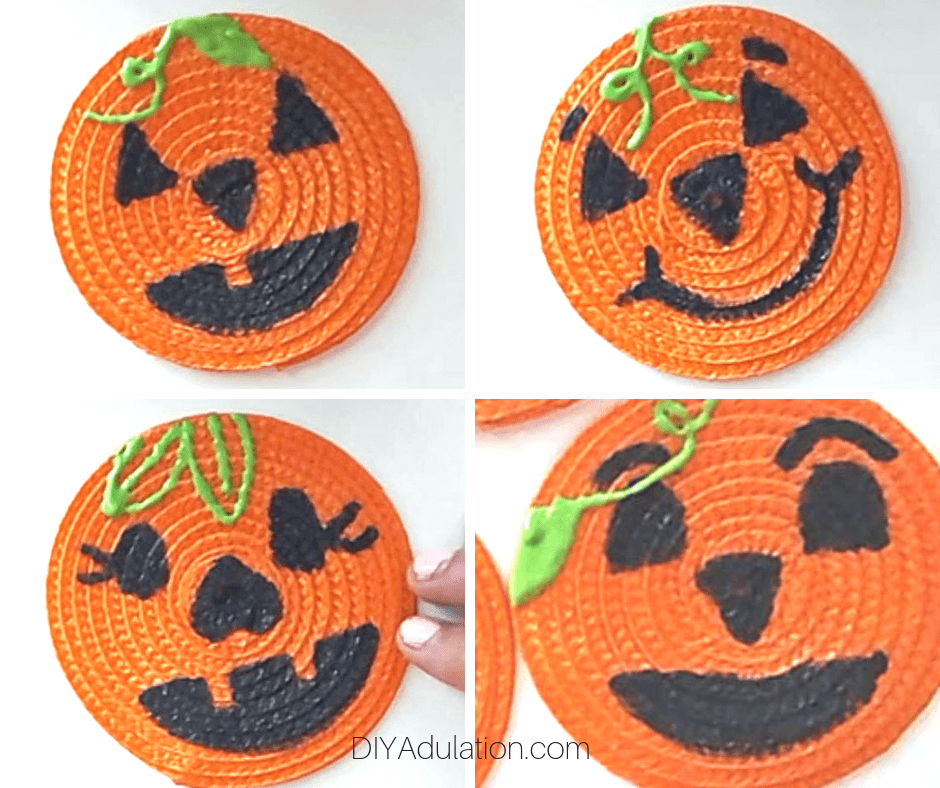 Collage of pumpkin faces on coasters