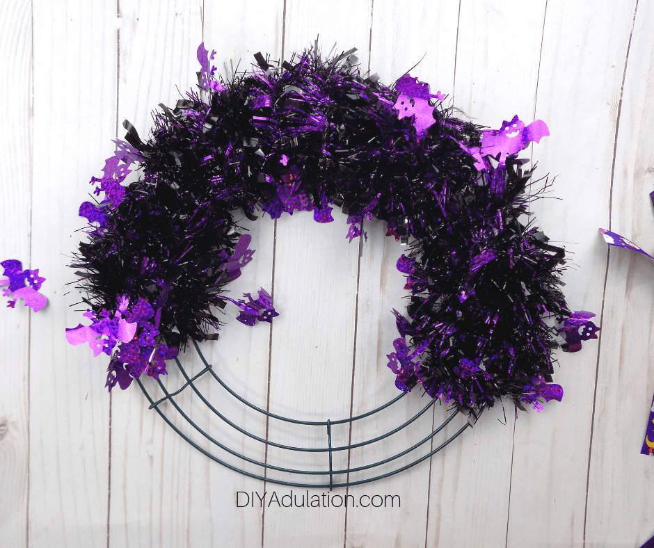 Purple Bat Garland Wrapped on Half of Wreath Form
