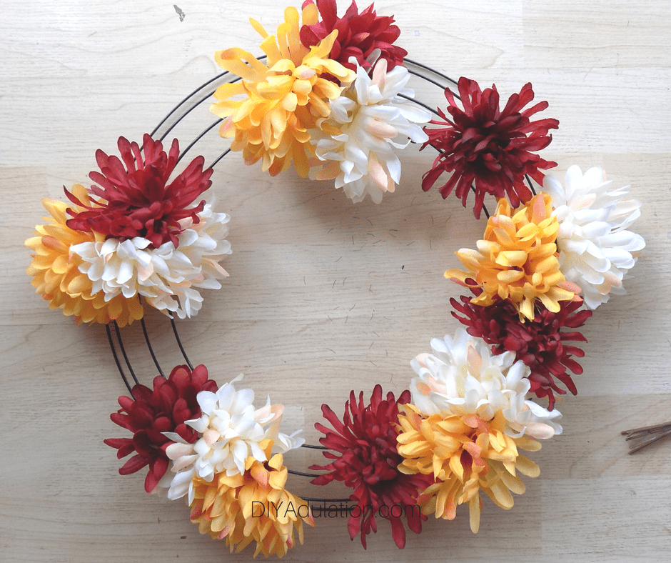 Red, Cream, and Yellow Mums on Wire Wreath Form