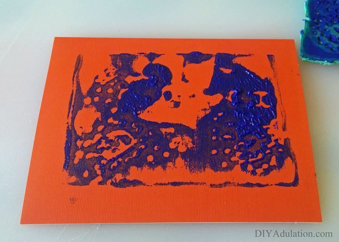 Red and Blue Stamped Mother's Day Card