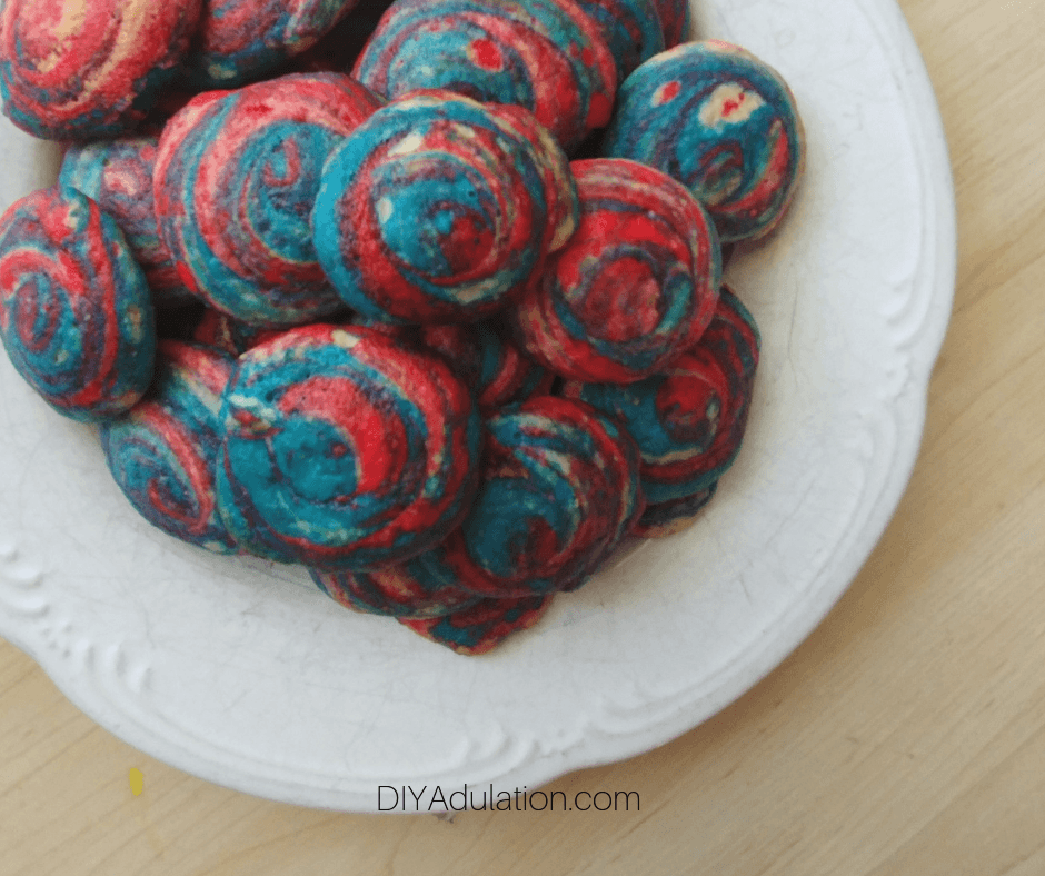 Plate of red, white, and blue swirl cookies