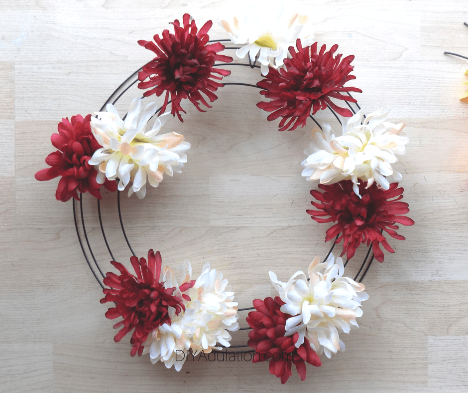 Red and Cream Mums on Wire Wreath Form