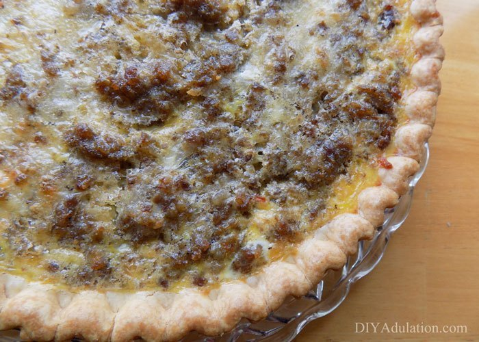 Close up of sausage quiche