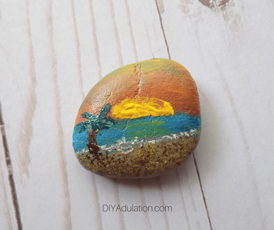 Painted Rock with Beach Scene