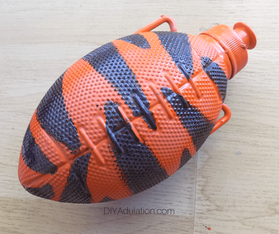 Sealed Striped Football Water Bottle Front
