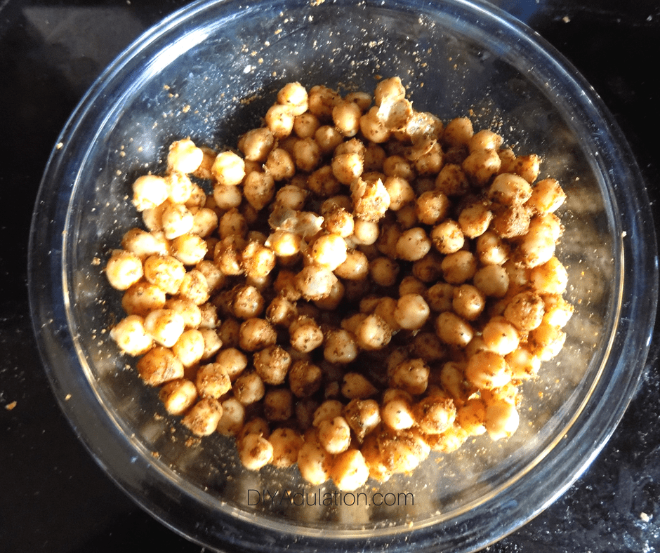 Seasoned Chickpeas in Glass Mixing Bowl