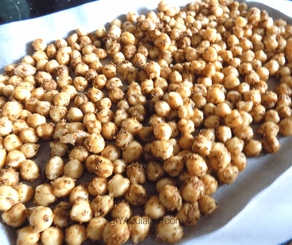 Seasoned Chickpeas on Baking Sheet