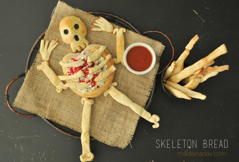 Skeleton bread with dipping sauce