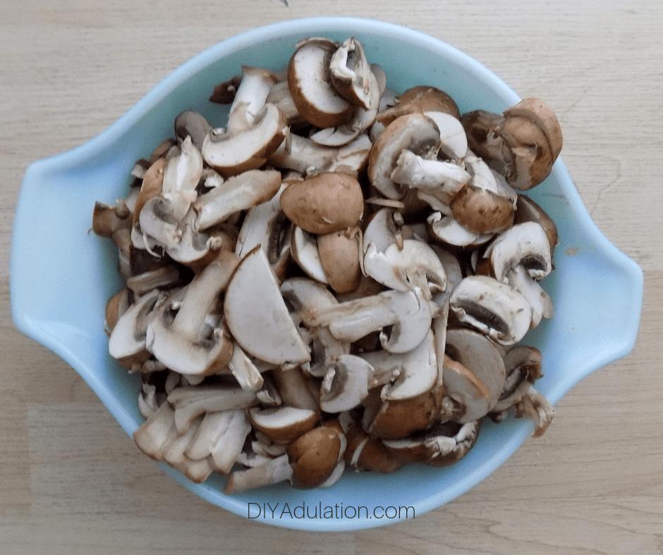 Slice Baby Portabello Mushrooms in a Bowl