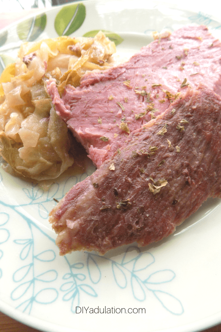 Sliced Corned Beef and Cabbage on a Plate
