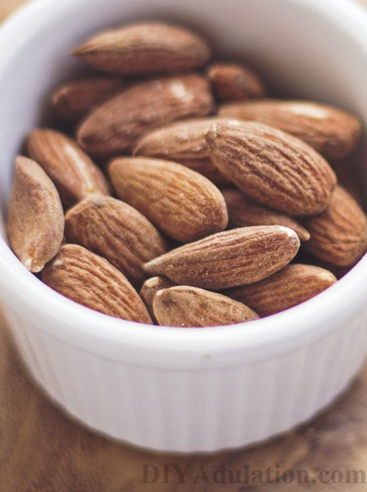 Close up of almonds in bowl