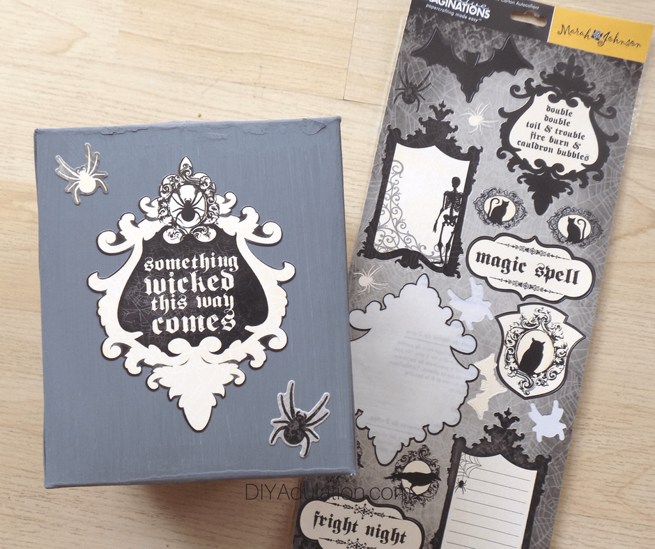 Something Wicked this Way Comes and Spider Stickers on Painted Tissue Box