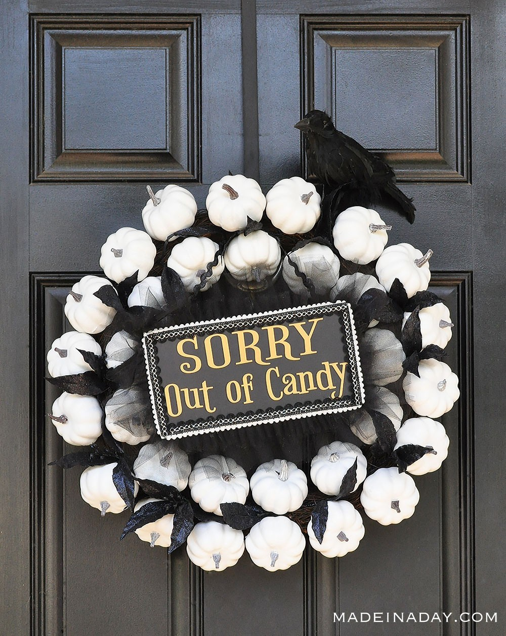 White Pumpkin Wreath with Sorry Out of Candy Sign