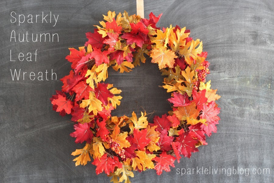 Glittery Leaves fall wreath