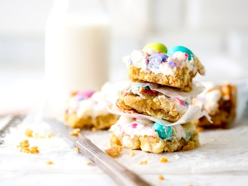 Stack of confetti cookie bars