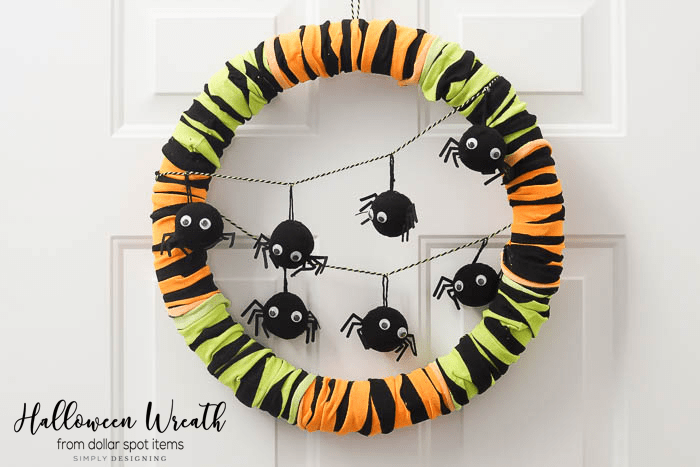 Halloween Spider Wreath Hanging on Door
